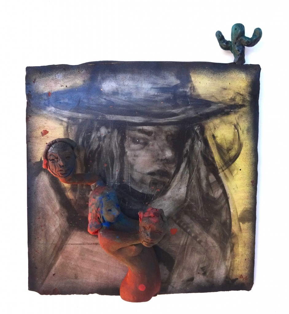 "Arthur Gonzalez - A Western Pose - 2018 - Ceramic, Mixed Media – 15.5"" x 18"" x 5"""