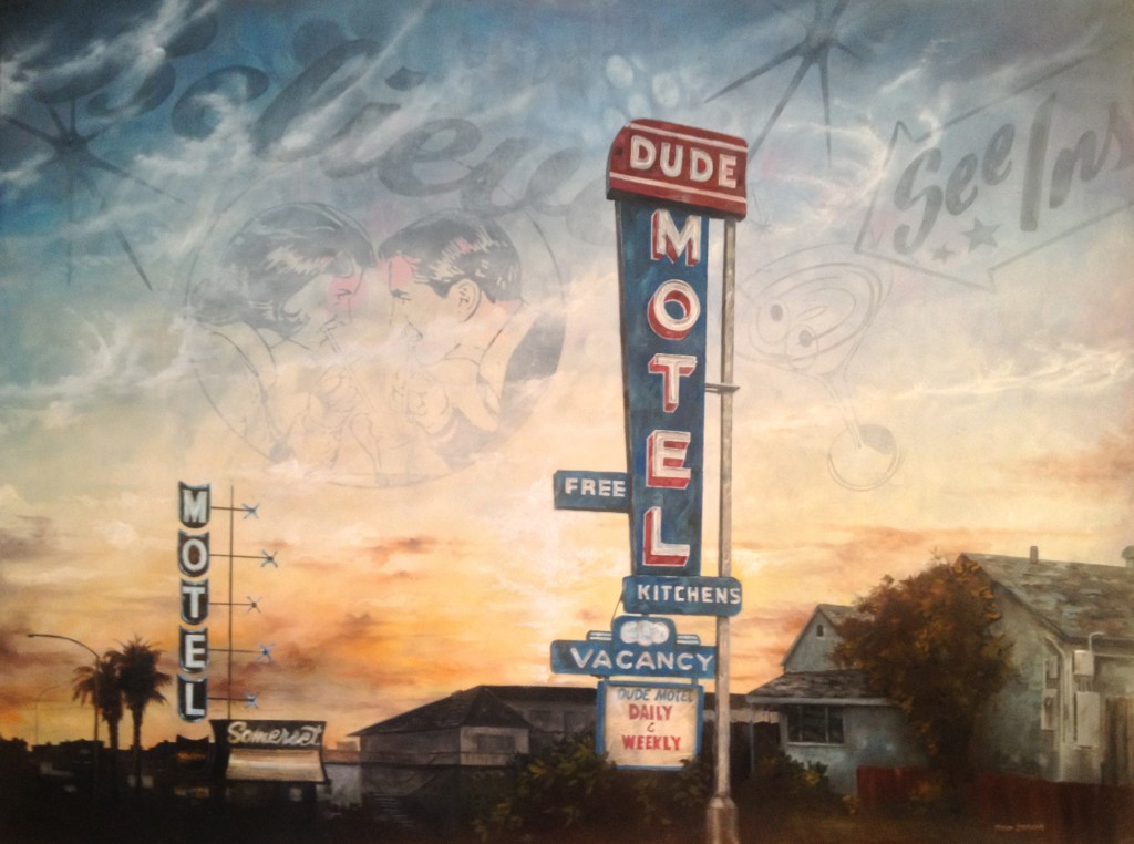 "Dude Motel Oil and Acrylic on Wood, 2013 9""X11"""