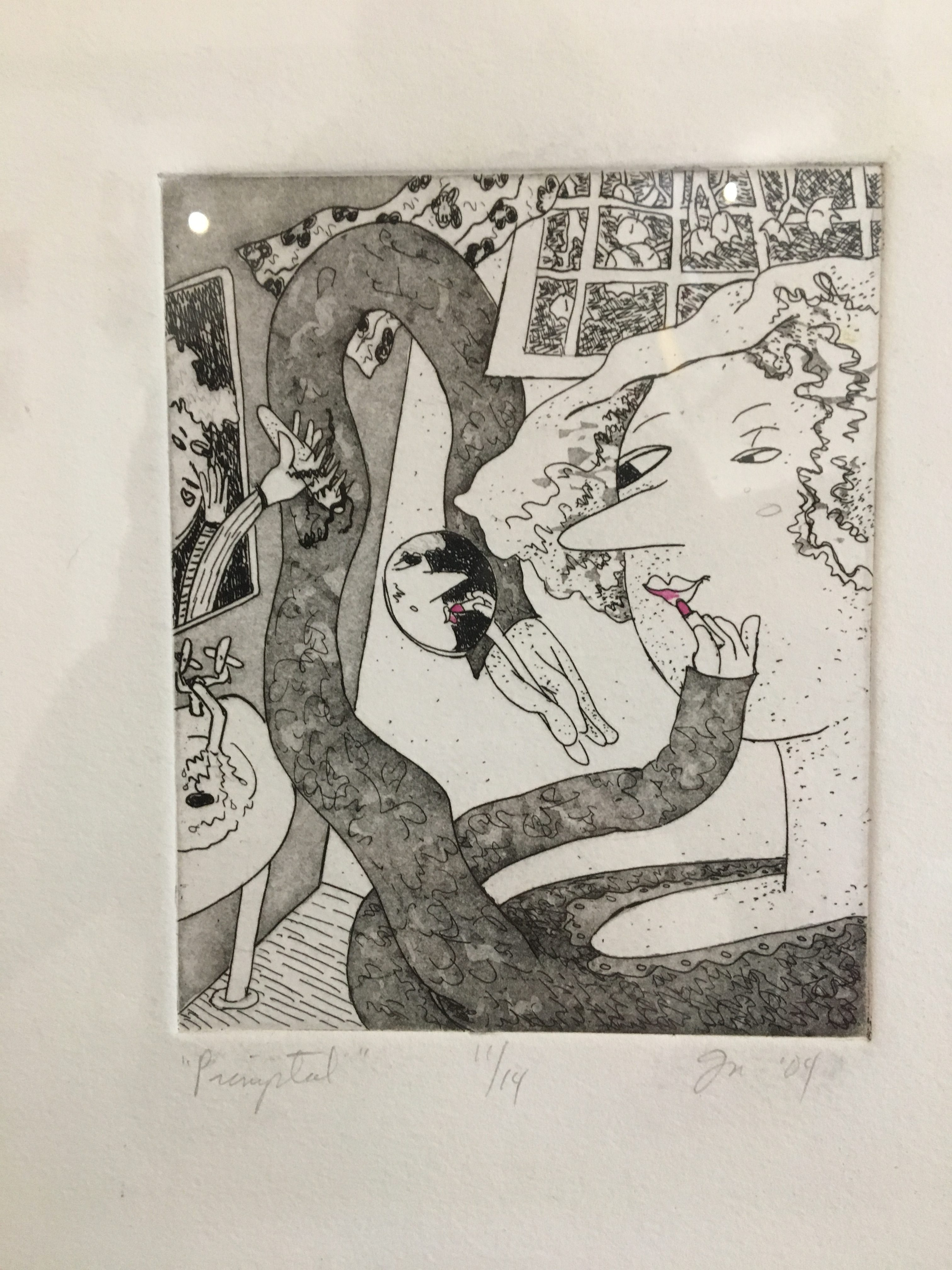 "Gladys Nilsson - Primptal Ed. 11/14 - Etching and Hand Coloring - 4"" x 5"""