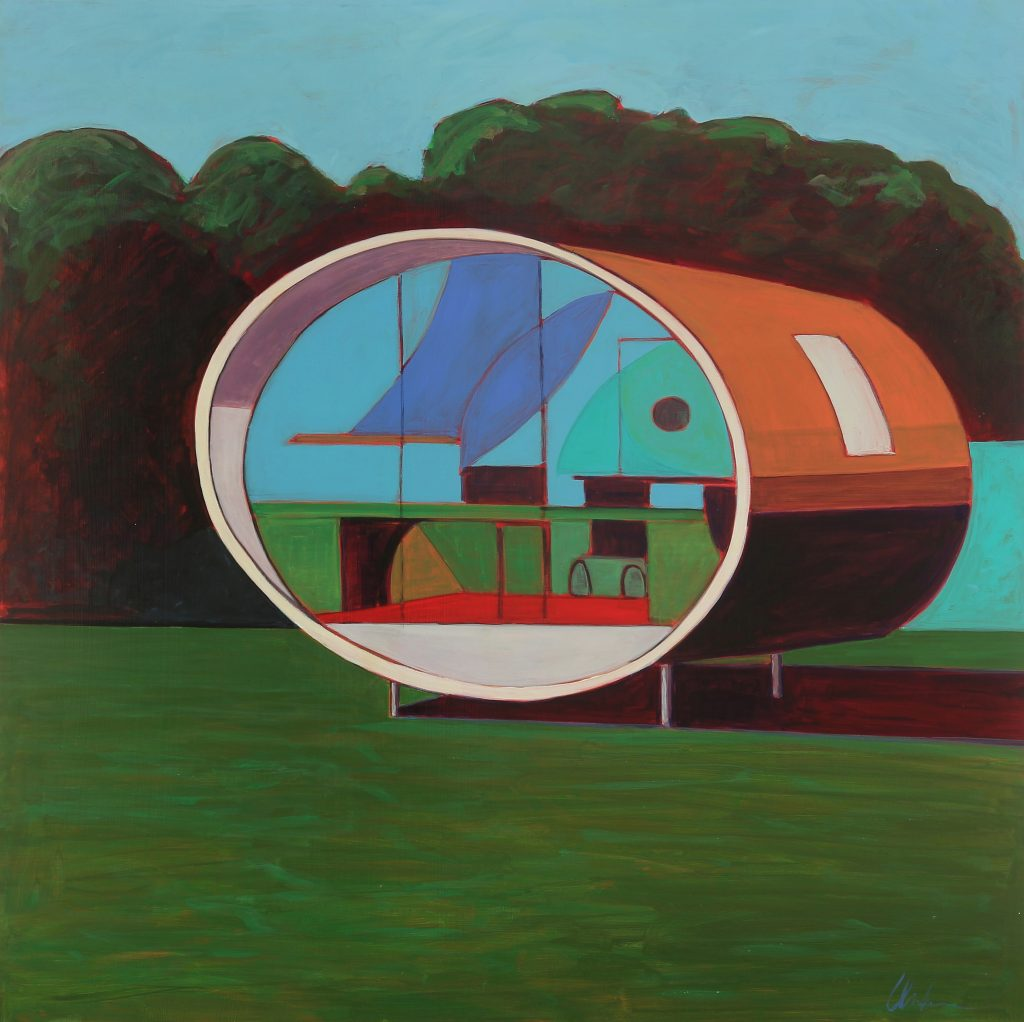 "Melissa Chandon - 2012 - Mon Oncle Meets Mondrian - Acrylic on Panel - 48"" x 48"""