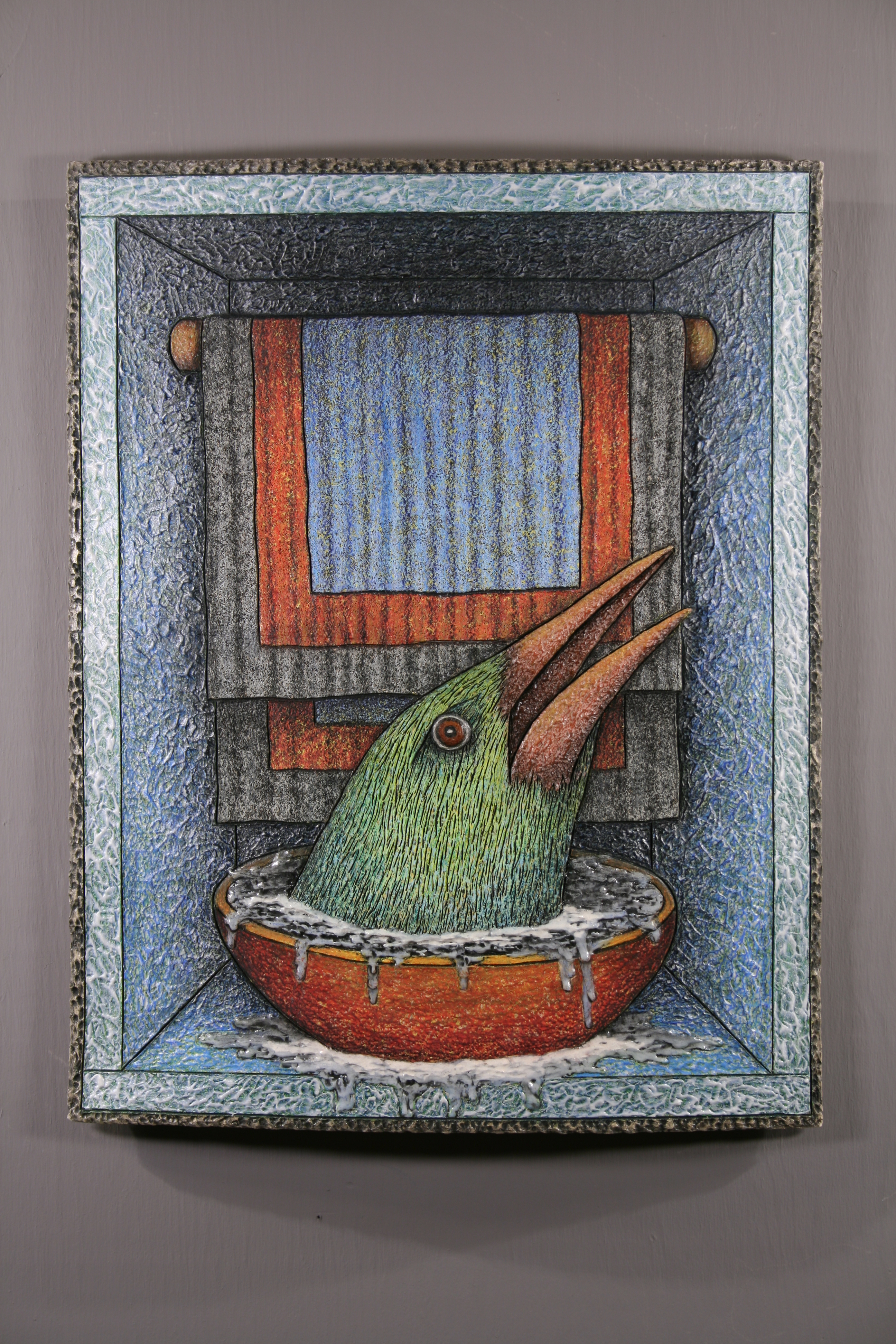 "Louis Marak - Avian Bath House - 2017 - Wall piece - 22.5"" x 17.5"" x 2"""