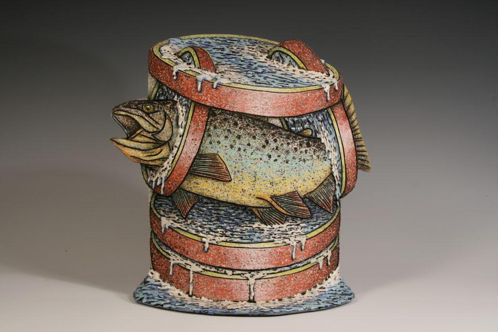 "Louis Marak - Floating Fish Rings Teapot (front) - 2001 - 14"" x 13.5"" x 6"""